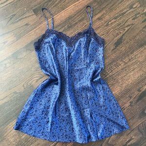 Blue Printed Flower Slip Dress